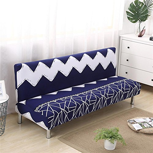 Armless Sofa Bed Cover Printed Elastic Sofa Slipcover Protector Folding Couch Shield - Printed Futon Cover