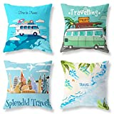 Pack of 4 Decorative Throw Pillow Covers Sets 18x18 Inch Blue Ocean Summer Travel Theme Pillowcases Square Outdoor Cushion Cover Whale Sea Fish Printing Pillows Covers for Home Decor Sofa Car Bedroom