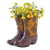 Patio Garden Planter, Western Cowboy Outdoor Resin Planters Shoe