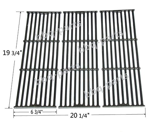 Hongso PCE051 Universal Gas Grill Grate Matte Cast Iron Cooking Grid Replacement for Chargriller gas grill models 2121, 2123, 2222, 2828, 3001, 3030, 3725, 4000, 5050, 5252, Sold as a (Duo Parts)