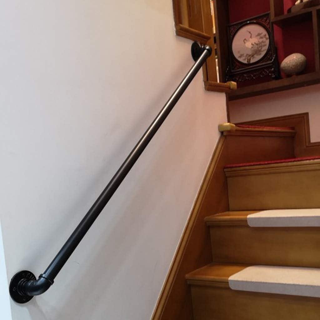DUGURUI Rail Main Courante for Un Escalier Int/érieur en Fer Forg/é M/étal Noir for Handicap/és Rampes /Âg/ées Enfants Ext/érieur Escaliers Marches Balustrade Ext/érieur Support Mural 25-600cm AAA++++