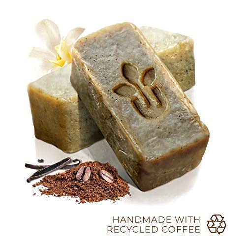(Handmade All Natural Coffee Exfoliating Soap Skin Care Gift Set - Cocoa Vanilla - Face Hand Body Bath Accessories Cleanser (Loofah Alt) - Men Women - 3 Soaps 2oz Bar Gifts - Gentle Scent)