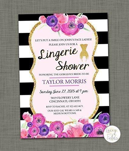 Black and white lingerie shower invitation Set of 10 Bridal lingerie party invite (Lingerie Shower Invitation)