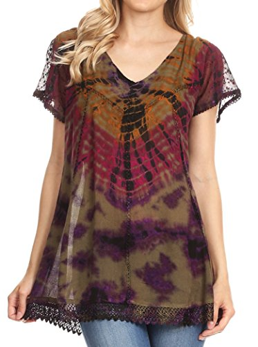 Relaxed Fit Tie Dye Embroidered Crepe Cap Sleeve Blouse | Cover up - Olive - OS (Hippie Tunic Blouse)