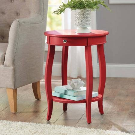 Better Homes and Gardens Round Accent Table with Drawer, Red 1, Red Red