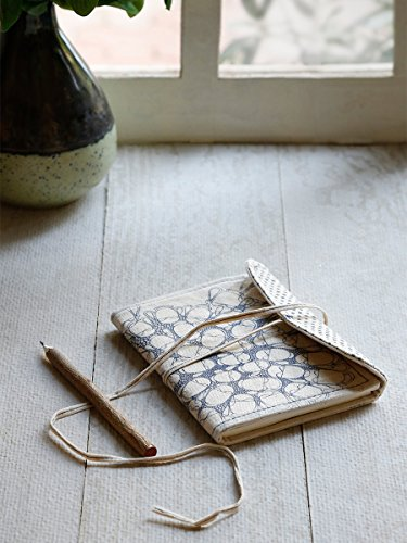 Writing Fabric Diary Journal Composition Blank Personal Notebook Travel Record Book Sketchbook Hand Crafted Classic Fabric Flap Cover Thread Closure Unlined 80 Pages 7 X 5 Inches