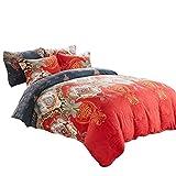 Paisley Design Duvet Cover Queen,600 TC Cotton Sateen Duvet Cover Set,Zipper Closure with Corner Tie,Red Comforter Queen 90 by 90 inch