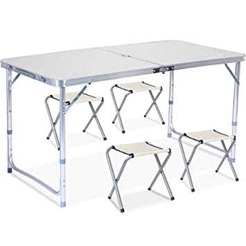 Alexzh Mesa y sillas Plegables Plegables al Aire Libre, Mesa ...