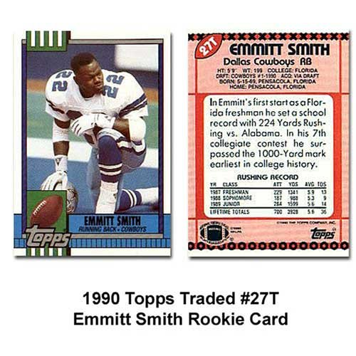 Topps Dallas Cowboys Emmitt Smith 1990 Rookie Traded Trading Card ()