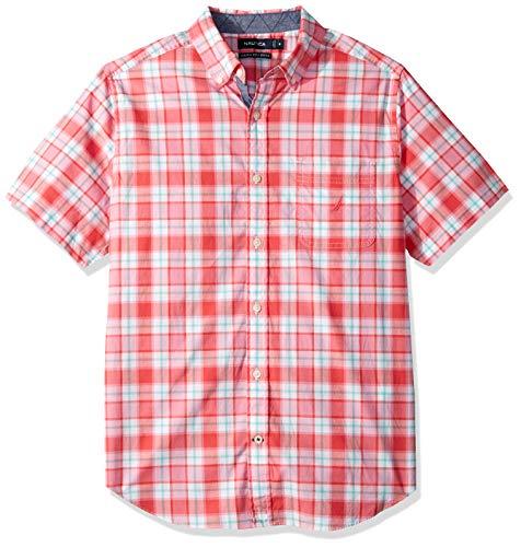 Nautica Men's Classic Fit Short Sleeve Stretch Plaid Button Down Shirt, Melon Berry, X-Large