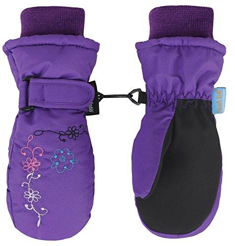 SimpliKids Girl's 3M Thinsulate Waterproof Snowboarding Ski Mittens,S,Purple