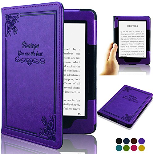 ACdream Kindle Voyage [Vintage] Case, Folio Premium PU Leather Book Style Case Cover for Kindle Voyage (2014 Version) with Auto Wake Sleep feature, Vintage Purple