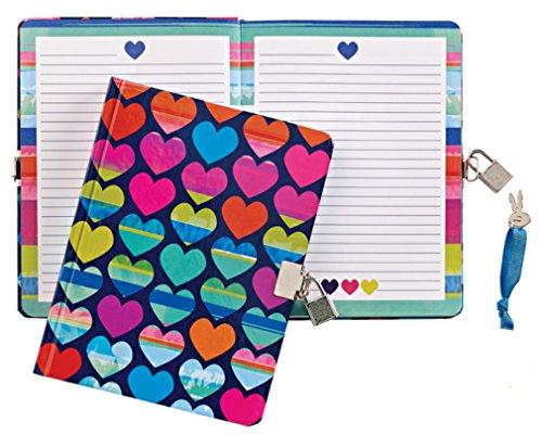"""UPC 818183019463, iscream 'Rainbow Hearts' Lock and Key Lined-Page 7"""" Diary"""