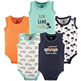 Hudson Baby Unisex Baby Sleeveless Cotton Bodysuits, Little Surfer, 5-Pack, 6-9 Months (9M)