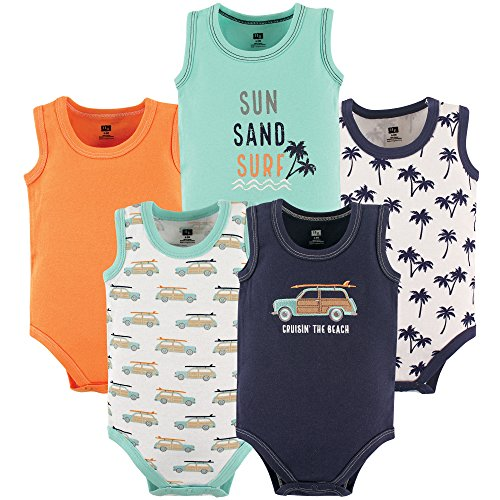 Baby Onesie Blue Top Clothes - Hudson Baby Unisex Baby Sleeveless Cotton Bodysuits, Little Surfer, 5-Pack, 3-6 Months (6M)