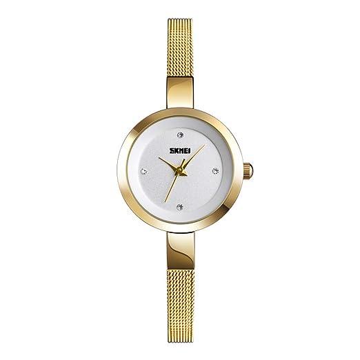 Relojes Pulsera Esfera pequeña Ultra-Fino Escala Rhinestone Relojes Mujer Correa de Malla de Acero Inoxidable Exquisite Minimalista, Dorado: Amazon.es: ...
