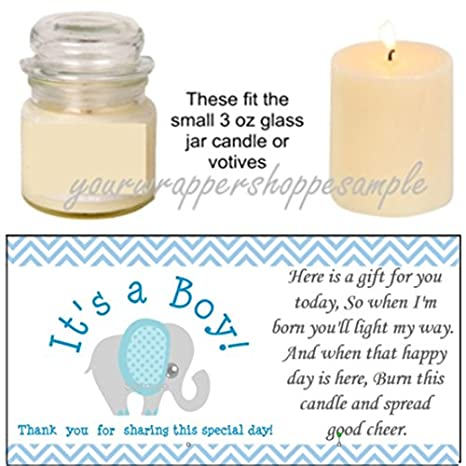 Amazon 56 Blue Grey Elephant Baby Shower Candle Party Favor