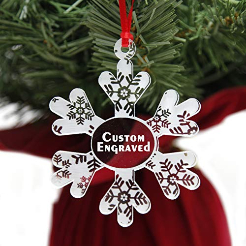 LHS Engraving | Personalized Christmas Ornaments for 2019 | Snowflake Xmas Tree Decorations, Shatter Resistant Clear Acrylic, Unique Custom Engraved Keepsake (Personalized Ornament)