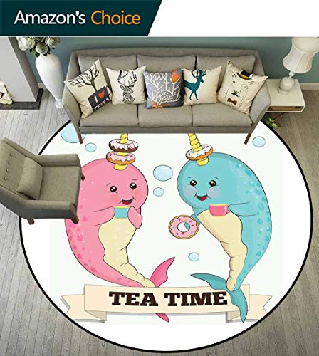 Porcello Bubbles - Narwhal Round Rug Modern,Tea Drinking Whales Ocean Unicorn with Abstract Bubbles Backdrop Suitable for Bedroom Home Decor,Pale Blue Beige Pale Pink,D-67