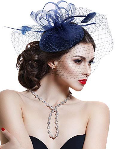 Hovivid Fascinator for Women Tea Party Wedding Headband Mesh Feather Flower Hair Clip (Navy-1)
