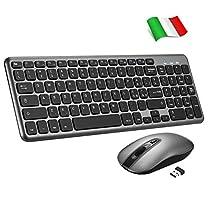TOPELEK Tastiera e Mouse Wireless PC, Portabile Tastiera Wireless PC Anti-Scivolo