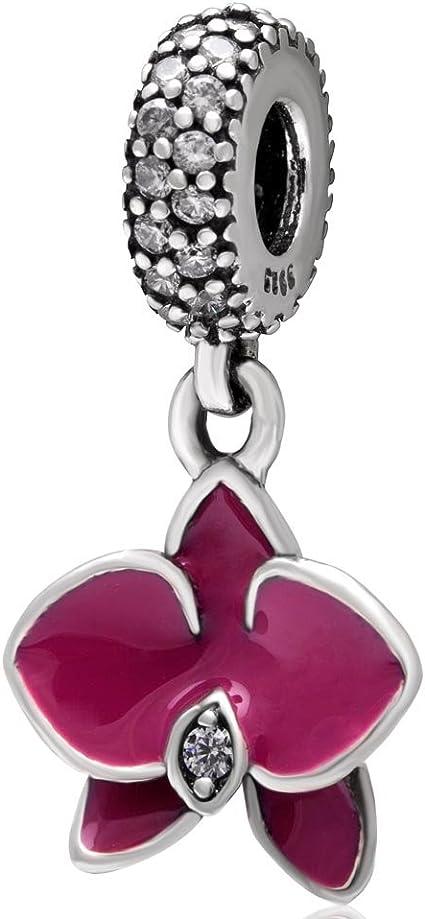 Pendentif orchidée en émail rouge en argent sterling 925 véritable perle  fleur avec oxyde de zirconium transparent pour bracelet à breloques européen