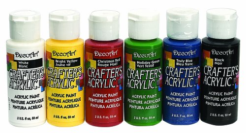 DecoArt DASK278 Crafter's Acrylics Primary Sample Pack (Paint With The Colors Of The Wind)