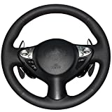 xuji steering wheel cover - XuJi Hand Sewing Black Genuine Leather Steering Wheel Cover for Infiniti FX FX35 FX37 FX50 Nissan Juke Maxima 2009-2014 Sentra 2016 2017 (Red Thread)