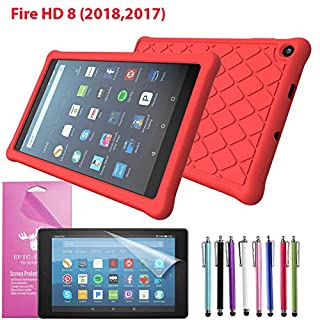 """EpicGadget Case for Amazon Fire HD 8 2018/2017 Silicone (8th and 7th Generation, 2018 and 2017 Release) Slim Anti-Slip Soft Rubber Silicone Gel Case Cover For Fire HD 8, 8"""" HD Display Tablet (Red)"""