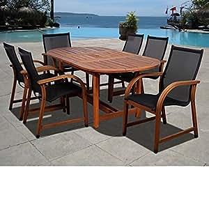 Marrón moderno 7piezas madera juego de Patio Oval mesa de comedor   muebles de resistente a la intemperie moderno a cualquier al aire libre por el porche, terraza, jardín, piscina/cubierta