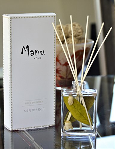 Manu Home White Tea Reed Diffuser Set - 5.5 oz + Natural Reed Diffuser Sticks (Tea Home Fragrance Oil)
