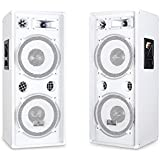 """Pair of Malone PW-2222 (3-Way DJ PA Speaker 2 x 12"""" 1000W Frequency Range from 30 Hz to 18 kHz Impeance 8 Ohm) - White"""