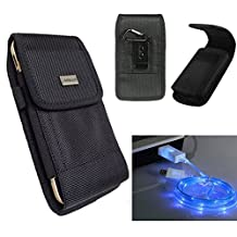GALAXY S7 active S6 active S5 active DUTY Nylon Canvas Pouch Holster Metal Belt Clip+Hook+LED Charging Cable Micro USB[Fits with OTTERBOX Defender Commuter Symmetry/UAG case](Nylon+LED Cable)