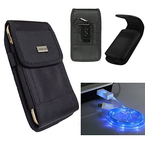 LG Aristo 2/Tribute HD/Tribute Dynasty/K8 / K8V Black Nylon Pouch Holster w/ Metal Belt Clip+Hook+LED Charging Cable Micro USB (fits Phone+Hybrid Armor Dual Layer Protective Cover) (Nylon+LED (D-ring Horizontal Cable)