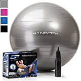 DYNAPRO Exercise Ball – 2,000 lbs Stability Ball – Professional Grade – Anti Burst Exercise Equipment for Home, Balance, Gym, Core Strength, Yoga, Fitness, Desk Chairs (Silver, 75 Centimeters) Review