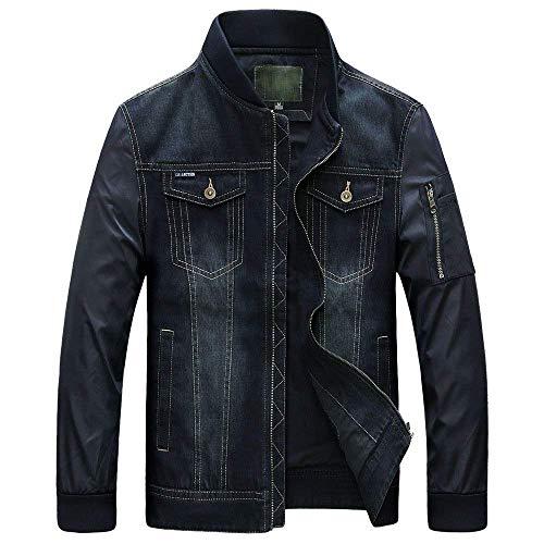 In Laterali Jeans Dark Maniche Lunghe Uomo Abiti Cappuccio Cappotto Casual Taglie A Da Hx Giacche Fashion Tasca Blue 2 Denim Comode Con Bottoni ESnTOwgpq