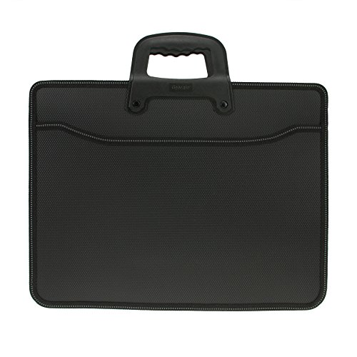 Top Handle Business Briefcase Bag Oxford Fabric Office School Meetting Travel Use File Bills Document Expanding Storage Organizer Holder A4 Size File Folder Carrying Case Handbag (Black HB415) (Use Case Document)