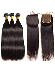Alipop Hair Brazilian Virgin Hair Straight 3 Bundles with Closure Unprocessed Human Hair Bundles Straight Hair Extensions with Lace Closure (14 16 18+12, Natural Color)