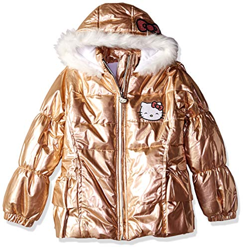 Hello Kitty Big Girls Puffer Jacket with Hood, Rose Gold 10