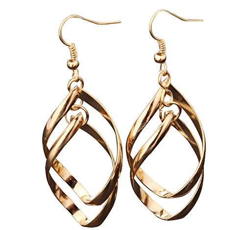 (Womens Drop Earrings with Triple Diamond-Shape 14k Yellow Gold Twisted Pointing Oval Fish)
