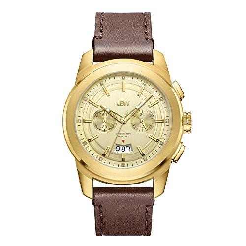JBW Luxury Men's Mohawk 0.12 Carat Diamond Wrist Watch with Leather Bracelet