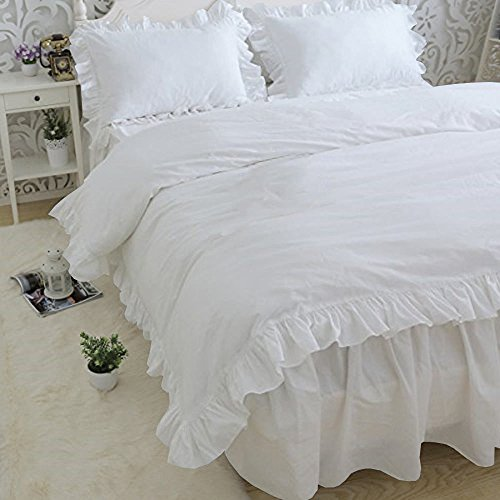 LA LINEN AFFAIRS Soft Luxurious 3-Piece Frilled Duvet Cover Set Comes with Beautiful Corner Ruffle Edges 100% Egyptian Cotton 600 TC Comforter Cover Set Solid (Full/Queen, White) ()