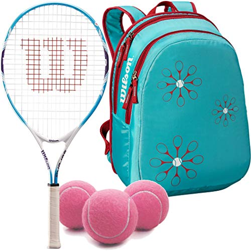 (Wilson Serena Williams Girl's 25 Inch Junior Tennis Racquet Bundled with a Light Blue/Red Kid's Tennis Backpack and a Can of Pink Tennis Balls)