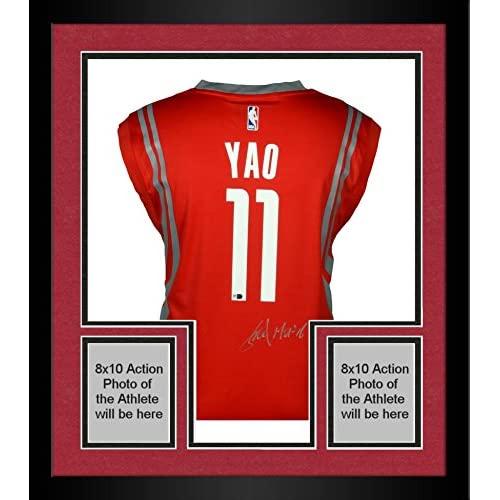 ... czech hot sale 2017 framed yao ming houston rockets autographed adidas  red replica jersey with inscription e5bd13474