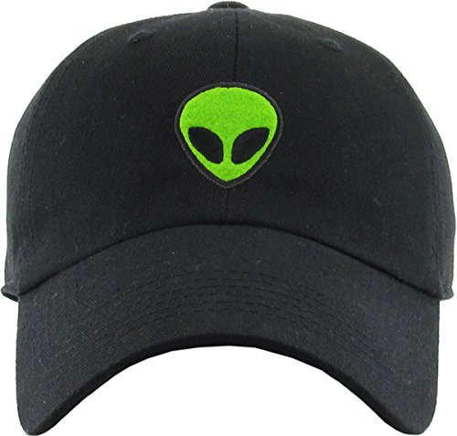 - H-214-ALIEN06 Dad Hat Unconstructed Low Profile Baseball Cap - Alien, Black