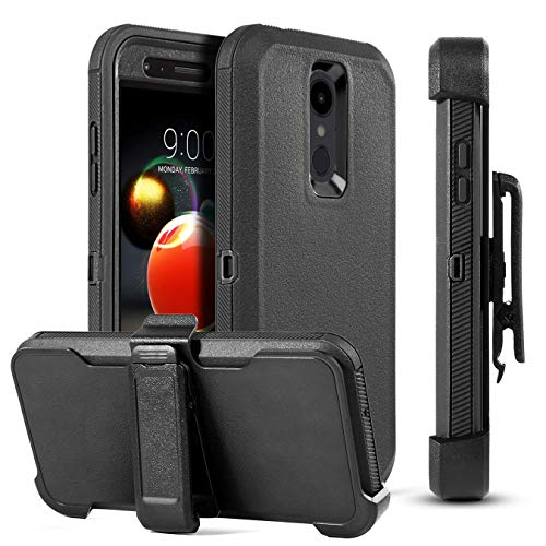 LG Aristo 3 Case,LG Aristo 2/Rebel 4 LTE/Aristo 3 Plus +/Tribute Empire&Dynasty/LG K8S/Zone 4/Aristo 2 Plus/Fortune 2/K8+/Risio 3/Phoenix 4 Case [Swivel Belt Clip&Kickstand]Shockproof Protection-Black