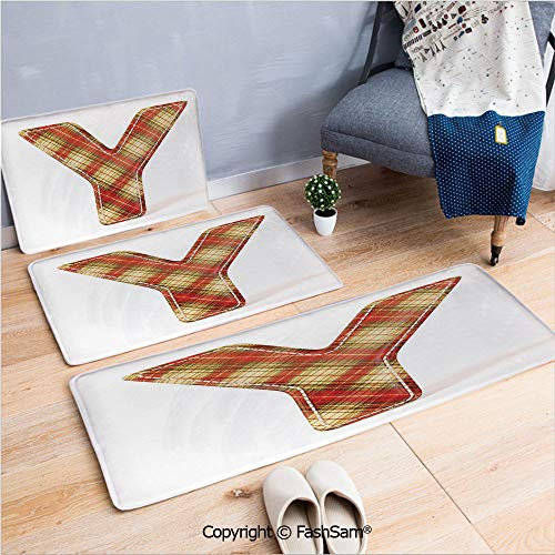 (3 Piece Non Slip Flannel Door Mat Classical Pattern Plaid Capital Y Alphabet Symbol Old Fashioned Decorative Indoor Carpet for Bath Kitchen(W15.7xL23.6 by W19.6xL31.5 by W17.7xL53))