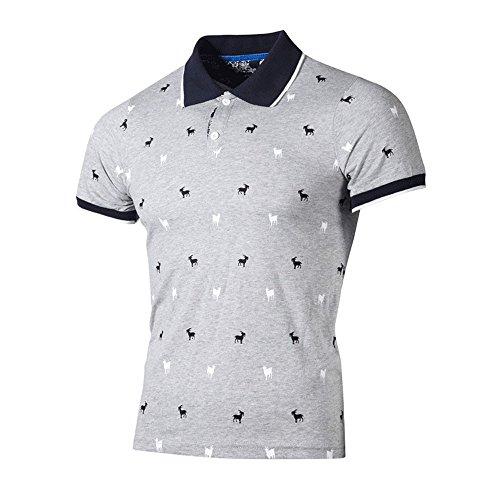 Mens Summer Lapel Polo Shirt Beautyfine Fashion Personality Slim Short Sleeve Print T-Shirt Top Blouse ()