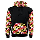 Kids Youth Childrens Maryland State Flag Varsity Vector Black Hooded Sweatshirt college university juniors