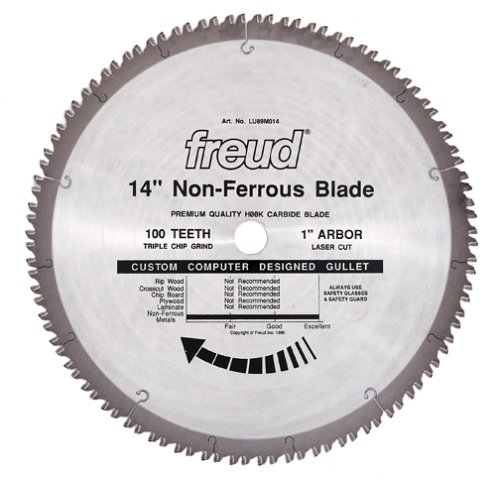Freud LU89M014 14-Inch 100 Tooth Non-Ferrous Metal Cutting Saw Blade with 1-Inch Arbor